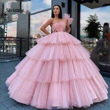 Sevintage rosa um ombro quinceanera vestido dubai vestido de baile em camadas plissados longos vestidos formais do baile de finalistas árabe saudita doce 16 vestidos