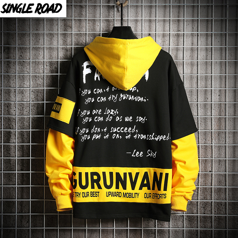 SingleRoad Mens Hoodies Oversized Yellow Hoodie Japanese Streetwear Sweatshirt Hip Hop Printed Harajuku Sweatshirts Male Fashion