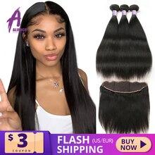 Alimice ישר שיער חבילות עם פרונטאלית סגירת 13X4 חזיתי תחרה עם חבילות הודי רמי שיער טבעי 3 חבילות עם סגירה