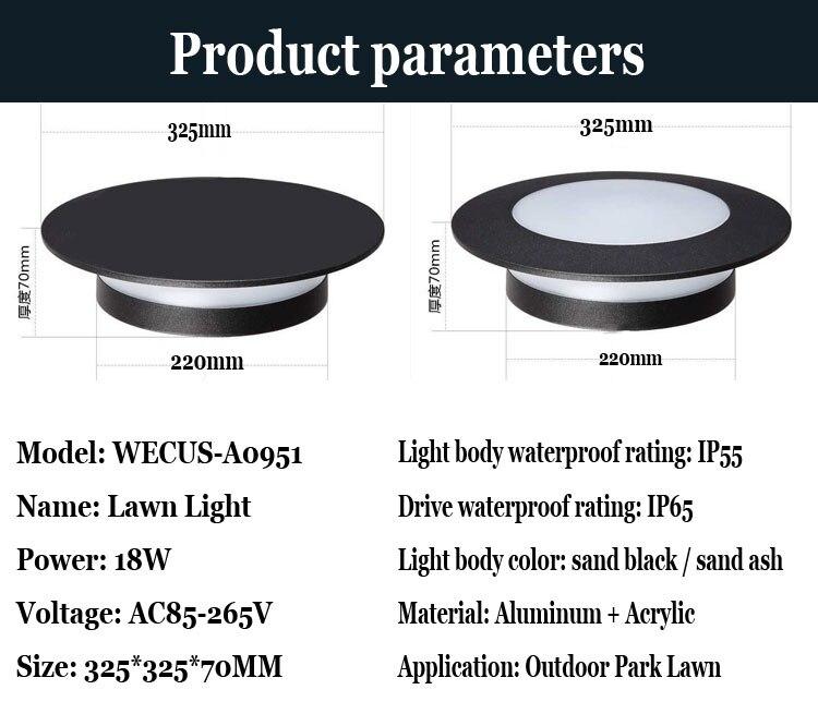 (Wecus) moderno e minimalista ao ar livre à prova dwaterproof água gramado luz