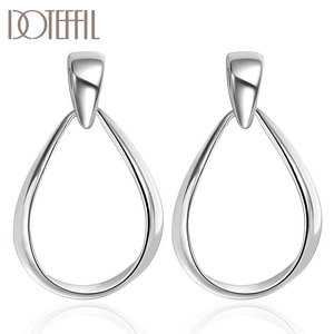 DOTEFFIL 925 Sterling Silver Classic Big Circle Hoop Charm Earrings Women Party Gift Fashion Wedding Engagement Jewelry
