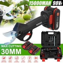 800W 98V Rechargeable Electric Pruning Scissors Pruning Shears Garden Pruner Secateur Branch Cutter Cutting Tool w/ 2x Battery
