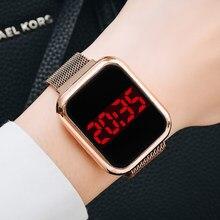 Luxo quadrado digital relógios magnéticos para as mulheres rosa ouro led senhoras relógio de quartzo casual feminino colck reloj mujer dropshipping