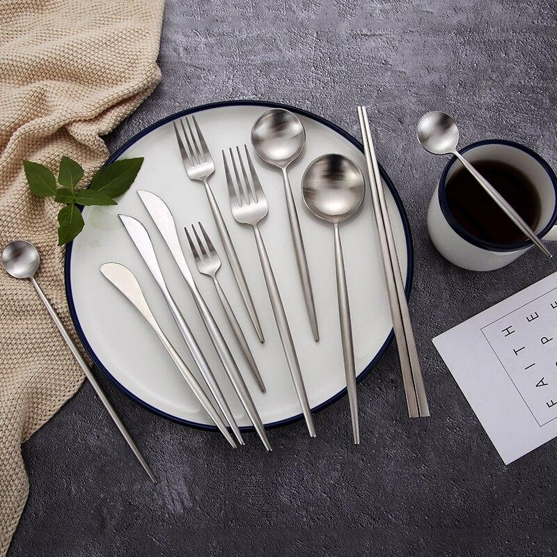 Matte  Silver Cutlery Set Chinese Korean Chopsticks Sticks Fork Spoon Knife Set Fruit Dessert Fork Steel Cutlery Metal Tableware