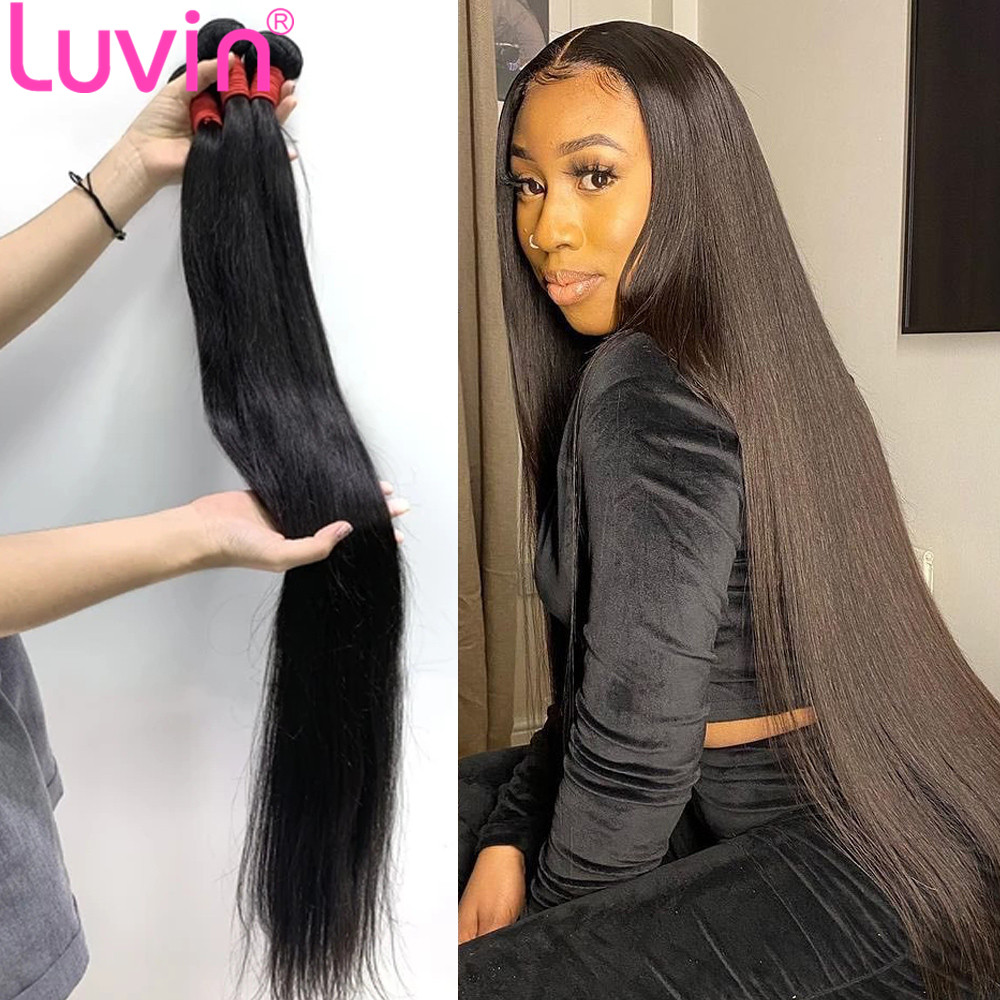 Luvin 28 30 40 Polegada pacotes de cabelo humano em linha reta do osso brasileiro ofertas naturais produtos virgem cru duplo desenhado por atacado|Apliques ondulados|   -