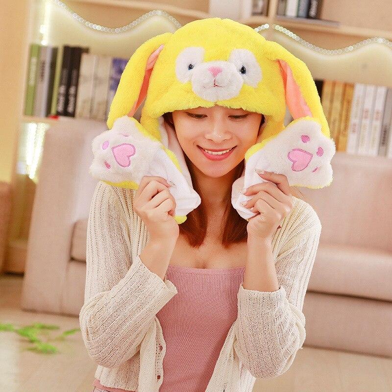 Различные стили милый кролик шляпа с светильник Забавный воздушный поплавок наполнение уха подвижная крышка мультфильм плюшевые игрушки подарки для ребенка - Цвет: Серебристый