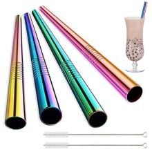 Grande paille en métal réutilisable de paille de Milkshake de thé de bulle de 12mm 304 pailles à boire d'acier inoxydable ont placé des Tubes droits de paille de Boba de barre