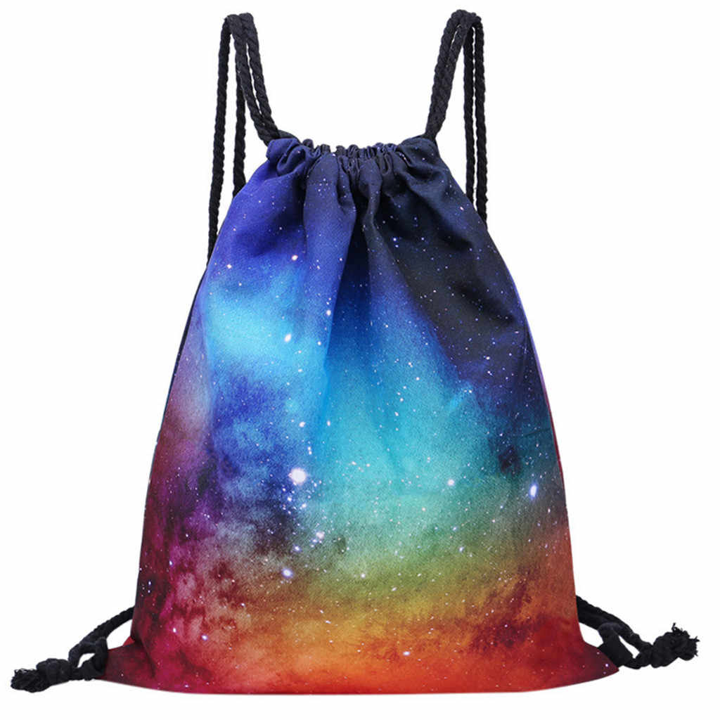 Fashion women men children Drawstring backpack Starry Sky Printing Pocket Storage shoes bag pocket pouch worek plecak sznurek