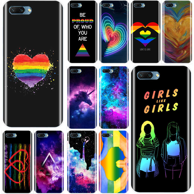 Love Is Love LGBT Arco Iris corazón cubierta suave silicona TPU teléfono funda para Huawei Honor 8 8C 9 10 NOTE10 lite MATE 7 8 9 10 20 pro