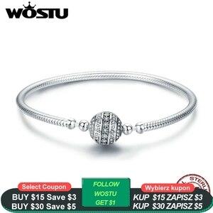 Image 1 - WOSTU prawdziwe 925 Sterling srebrna iskrząca bransoletka z kulką i Bangles dla kobiet Fit koraliki charmsy diy oryginalny biżuteria prezent CQB062