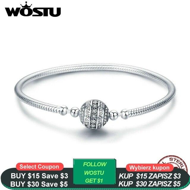 WOSTU prawdziwe 925 Sterling srebrna iskrząca bransoletka z kulką i Bangles dla kobiet Fit koraliki charmsy diy oryginalny biżuteria prezent CQB062