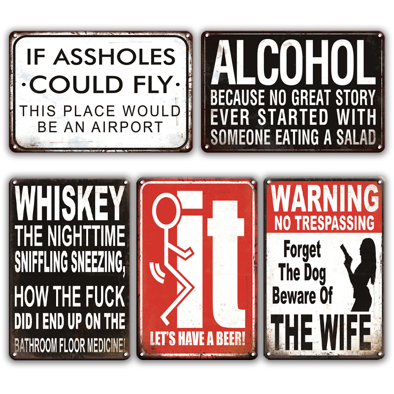 ALCOHOL WHISKEY Metal Tin Sign Shabby Chic WARNING NO TRESPASSING Metal Sign plates Farmhouse Home Decoration Accessories image