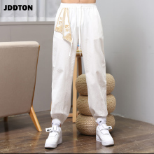 JDDTON 2019 New Mens Chinese style Cotton Linen Pants Retro Traditional Embroidery Beam Casual Thin Section Jogger Trouser JE051