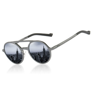 Image 2 - Мужские солнцезащитные очки, винтажные поляризационные очки в круглой оправе из алюминиево магниевого сплава, зеркальные очки для вождения