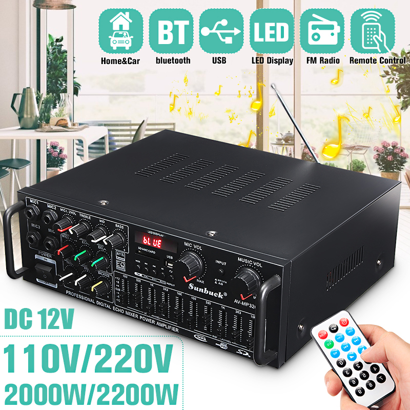 5.0 Bluetooth 2000W 110V 220V Audio Power Amplifier Home Theater Amplifiers With Remote Control Support FM USB SD Card 4 Micro