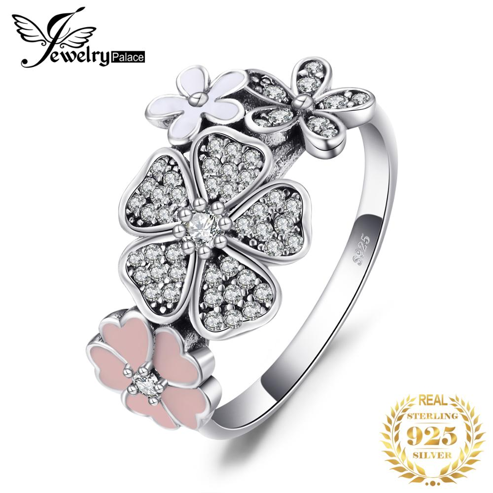 Jewelrypalace 925 Sterling Silver Glitter Daisies Cubic Zirconia Ring Wedding Rings For Woman New Design Jewelry Fashion Rings