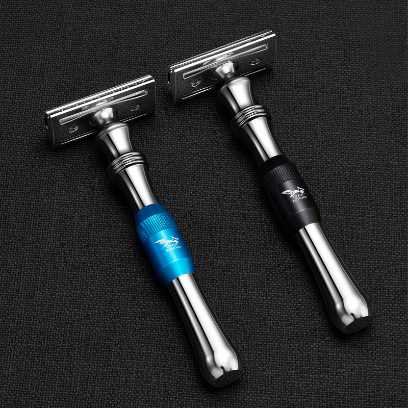 Double Edge Safety Razor Long Handle Classic Shaving Razor Silver Color, 1 Handle & 10 Blades Men's Manual Razor Shaver Knife