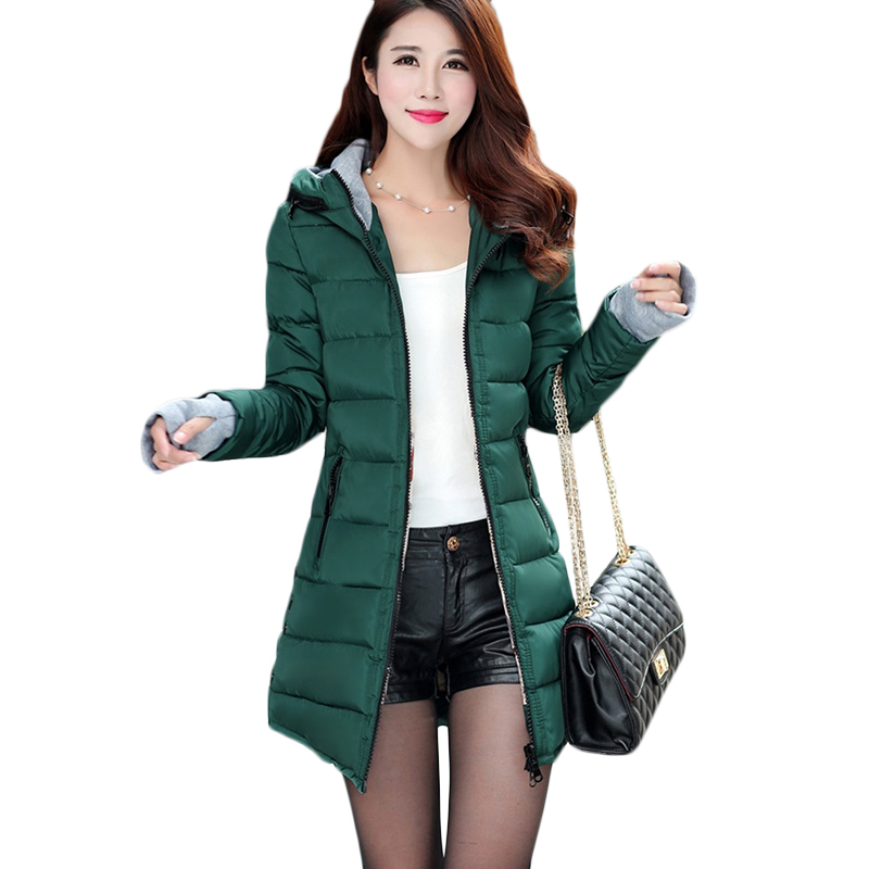 Autumn Winter fashion Warm Women Overcoat Women's Down cotton Jacket long Plus size Coats Female casual Hooded   Parkas   4XL F882