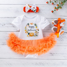 Toddler Baby Kids Girls Halloween Pumpkin Tulle Romper Dress Shoes Hairband Set