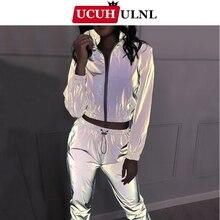 แฟชั่นสะท้อนแสง 2 ชิ้นชุดใหม่ผู้หญิงกีฬาJogging Casualกางเกงกีฬาผู้หญิงกีฬาชุดสูทซิปกางเกง