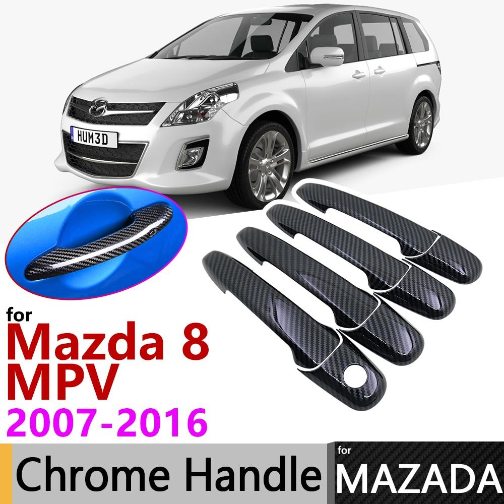 Black Carbon Fiber Exterior Door Handle Cover For Mazda 8 MPV Mazda8 2007~2016 2015 Car Accessories Stickers Trim Set Chrome