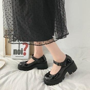 Pattini Della Piattaforma delle donne Scarpe Lolita Scarpe di Cuoio di Autunno della Molla Delle Ragazze Delle Signore Mary scarpe Donna Giapponese di Alta Scarpe Tacchi 2020 1