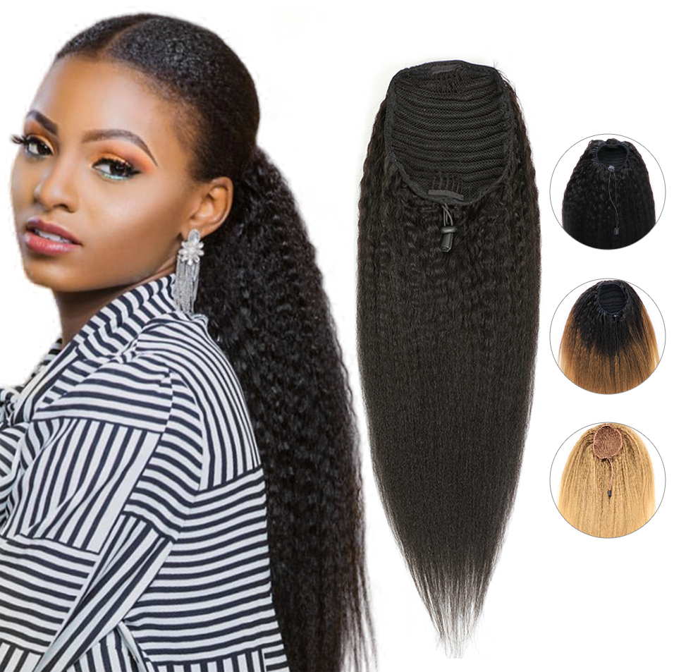 Afro Kinky Straight Ponytail Drawstring Ponytail Human Hair Extensions Clip Ins Ponytail for Black Women 100g 150g Ombre 1B 4 27