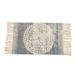 Retro czeski ręcznie tkany bawełniany dywan Tassel nocny dywanik geometryczny mata podłogowa salon dekoracje do wnętrz do sypialni w Dywany od Dom i ogród na