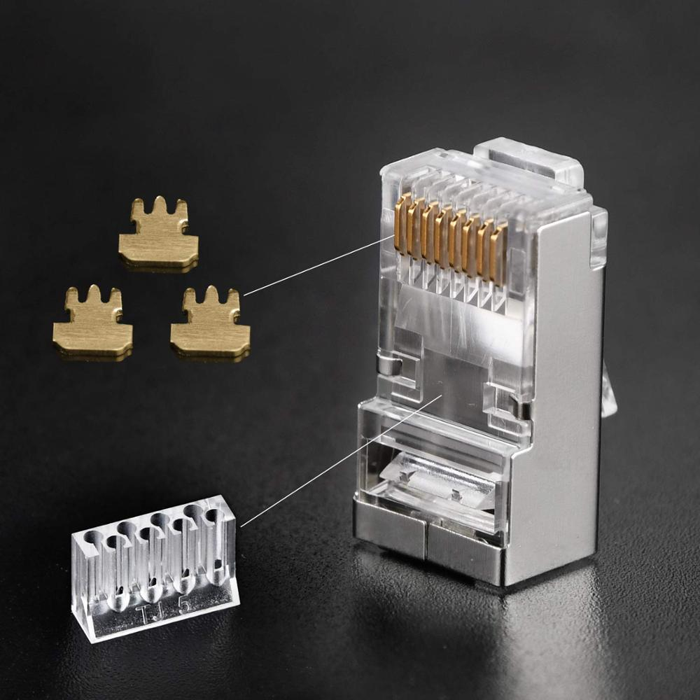 Image 2 - AUCAS CAT6 CATA Shielded RJ45 Connectors FTP 8P8C Modular Network Ethernet Cable Head Plug Gold plated 50/100pcs-in Computer Cables & Connectors from Computer & Office