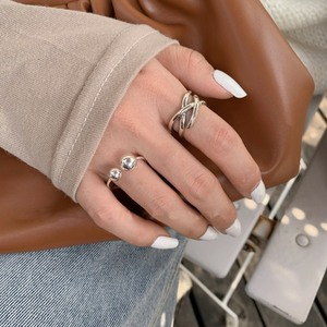 MENGJIQIAO Korean Fashion Punk Metal Multilayer Twist Rings For Women Adjustable Ball Mid Finger Knuckle Ring Jewelry Gifts