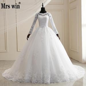 Image 1 - Mrs Winงานแต่งงานชุด2021ใหม่เต็มรูปแบบแขนเสื้อSweep Train Lace Upบอลชุดเจ้าหญิงหรูหราลูกไม้ชุดแต่งงานPlusขนาดชุด
