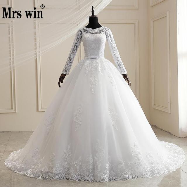 Mrs Winงานแต่งงานชุด2021ใหม่เต็มรูปแบบแขนเสื้อSweep Train Lace Upบอลชุดเจ้าหญิงหรูหราลูกไม้ชุดแต่งงานPlusขนาดชุด