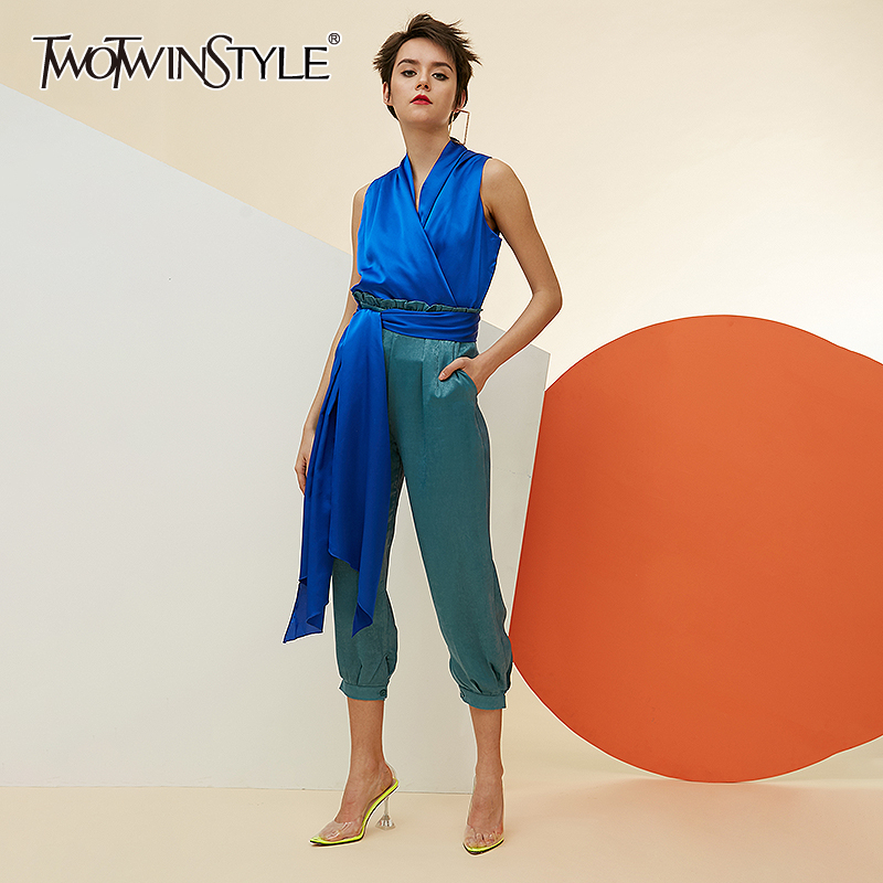 TWOTWINSTYLE Casual Two Piece Set For Women V Neck Sleeveless Tops High Waist Lace Up Pants Female Suits 2020 Spring New Fashion