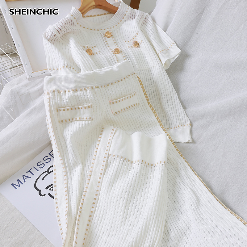 Autumn 2019 White/Black Knitted Women Two Piece Set Elegant Short Sleeve O-neck Casual Tops Shirts And Loose Pants 2 Piece Set