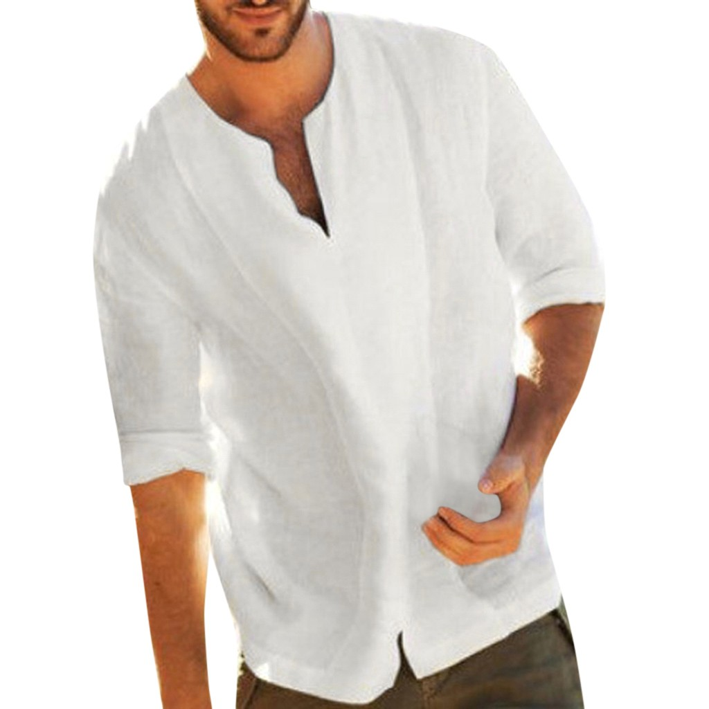 Men's Summer Blouses Baggy Beach Hawaiian Cotton Linen Solid Color 3/4 Sleeve V Neck White Shirts Breathable Tops 2020#LR4