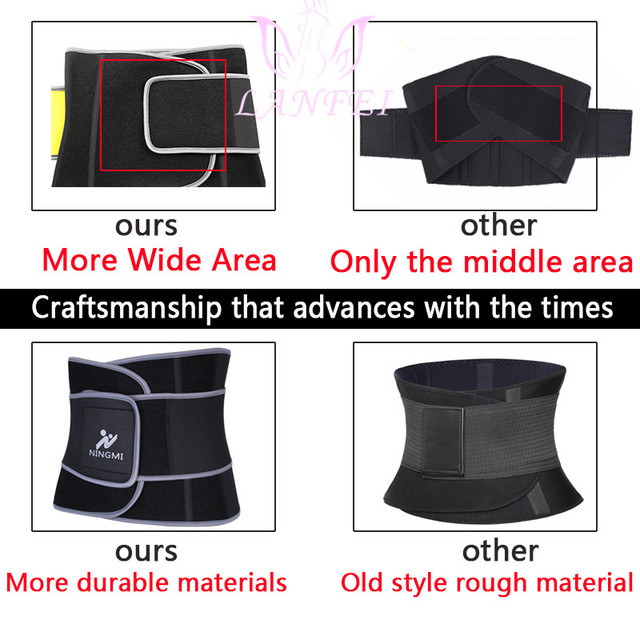 LANFEI slimming weight loss fat burner shit men sweat waist trainer trimmer belt hot neoprene body shapers tummy control corset 5