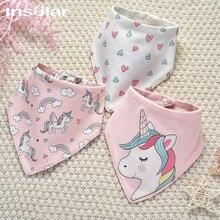 Insular Baby Bibs Cute Cartoon Unicorn Bandana Bibs Saliva Towel Cotton Infant Boy Girl Burp Cloths Feeding Accessories 3PCs/Set