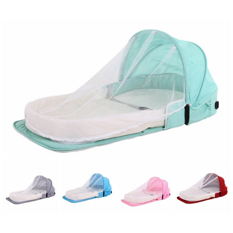 Travel Baby Bed Baby Nest Bed with Pillow Portable Crib Travel Bed Infant Toddler Cotton Cradle for Newborn Baby Bed