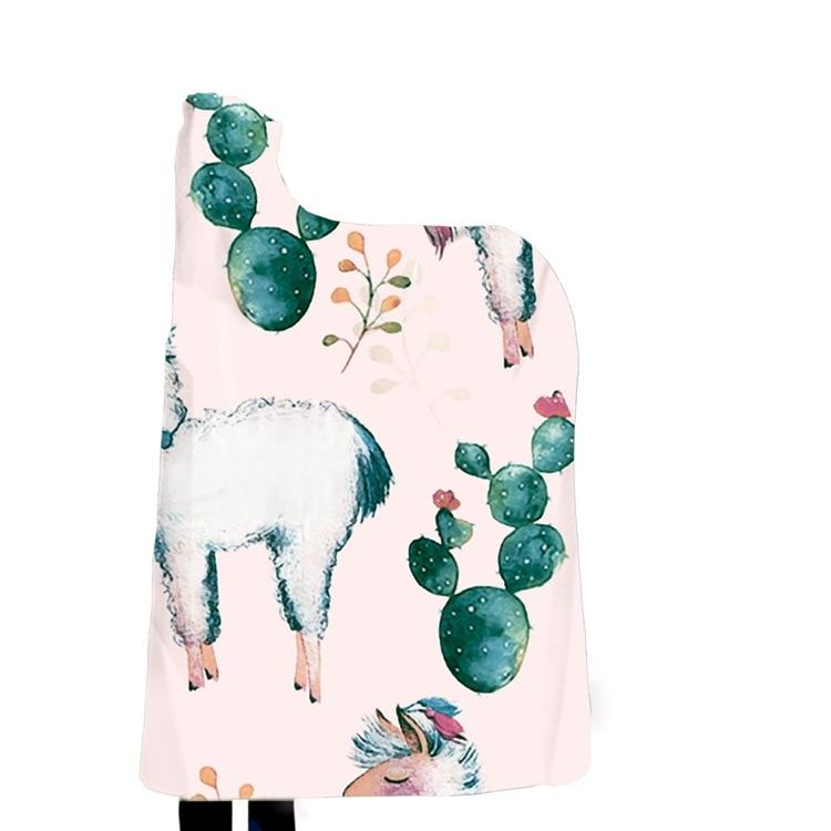 Winter Blanket Sweatshirt Unicorn Cartoon 3D Printed Plush Hooded Blanket for Adults Kid Warm Wearable Fleece Throw Blankets 11