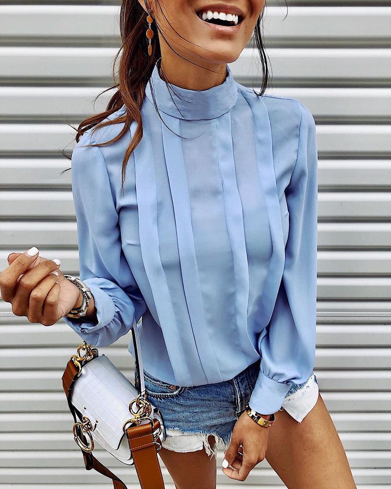H96b78e437d1243b0960c6908aa7886f39 - INGOO Autumn Turtleneck Office Women Shirt Lantern Long Sleeve Ruched Pleated Blouses Button Elegant Blue White Shirts Female