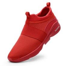 Высококачественные кроссовки; дышащая мужская обувь; сетчатая трикотажная мужская повседневная обувь; легкая ходьба; удобные модные кроссовки красного цвета