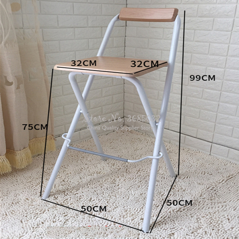 New European  Bar Stools Folding High Formal Dinning Chairs Home Simple Portable Thickening Adult Chair