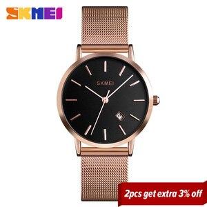 Image 2 - SKMEI Fashion Women Watch Casual Quartz Wristwatches Simple Style 3bar Waterproof Stainless Steel Watchband reloj mujer 1530