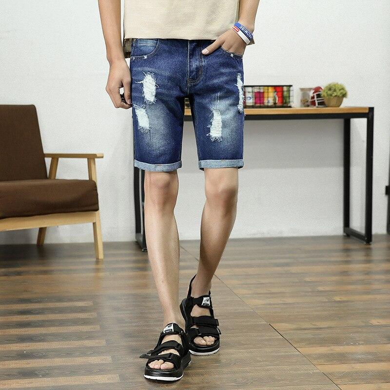 Denim Shorts Men's Summer New Style Stretch Cotton Jeans Men Short Shorts Korean-style Slim Fit 5 Shorts Men's