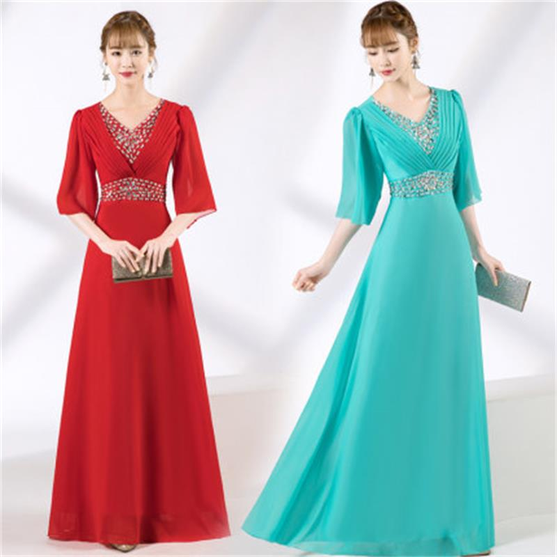 New Choir Costumes Female Long Temperament Elegant Chiffon Dress Adult Stage Chorus Dress Performance