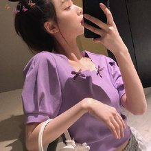 Mulheres verão roxo preto t camisa menina bonito estilo coreano cor sólida topos 2021 kawaii feminino camiseta dropshipping