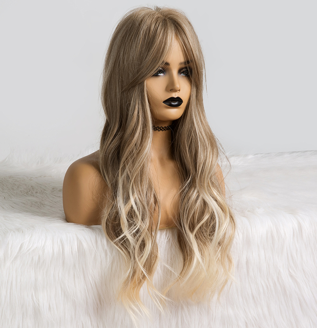 ALAN EATON Long Ombre Light Ash Brown Blonde Wavy Wig Cosplay Party Daily Synthetic Wig for Women High Density Temperature Fibre 2