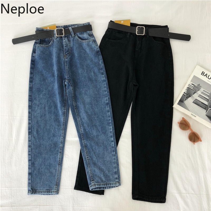 Neploe High Waist Women Jeans Spring 2020 Korean Zipper Button Pockets Pants Solid Sashes Ankle Length Female Trousers 81243
