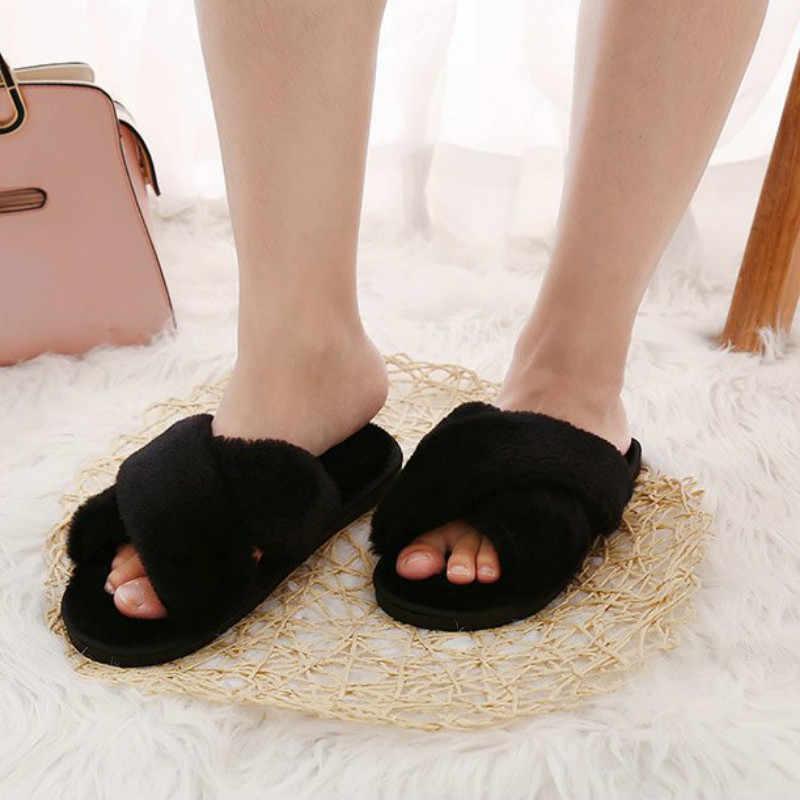 Dropshipping zapatillas de Invierno para mujer zapatos planos dulces zapatillas para el hogar Mujer Zapatos de Interior de piel suave deslizamiento en zapatillas negras para mujer