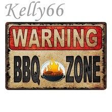 [Kelly66] señal metálica de advertencia para barbacoa, fiesta de barbacoa fresca, cartel de estaño para decoración del hogar, Bar, pintura artística para pared, 20x30 CM, tamaño y-1765